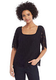 Corded Lace Elbow Sleeve Blouse