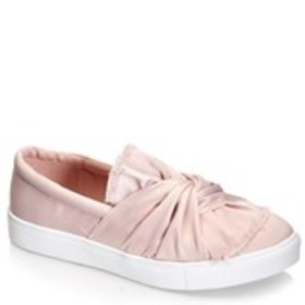 Womens Satin Knot Slip-On Sneakers