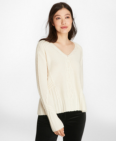 Cable-Knit Cashmere Swing Sweater