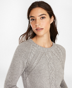 Wool-Blend Cable-Knit Raglan Sleeve Sweater