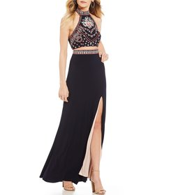 Blondie Nites Mock Neck Embroidered Two-Piece Long