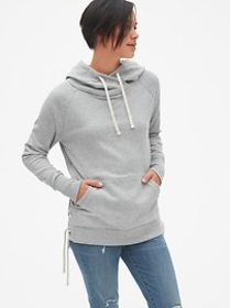 Lace-Up Hoodie Sweatshirt Tunic in French Terry