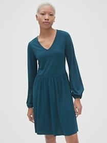 Fit and Flare Blouson Sleeve Dress in Ponte