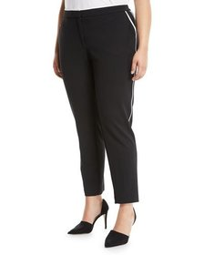 Iconic American Designer Contrast-Piped Crepe Pant