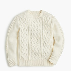 Girls' cable-heart sweater