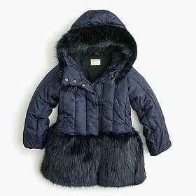 Girls' fur-trimmed puffer with eco-friendly Primal