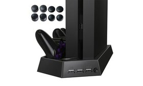 PS4 Vertical Stand w/ Cooling Fan Charger Multi fu