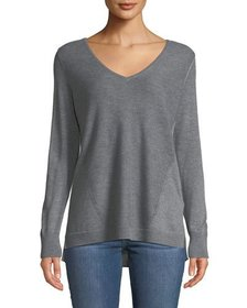 NYDJ Ribbed V-Neck Perforated Sweater