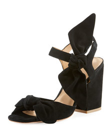 Bill Blass Cindy Knotted Suede Chunky-Heel Sandals