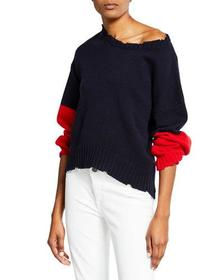 Zadig & Voltaire Distressed Colorblock Wool Sweate