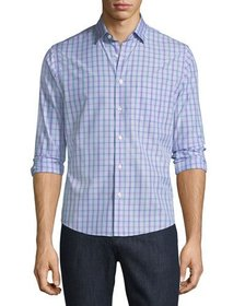 Neiman Marcus Slim-Fit Wear-It-Out Check Sport Shi