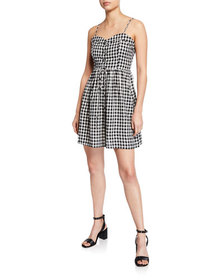 Moon River Lace-Up Sweetheart Gingham Dress