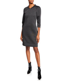 Tomas Maier 3/4-Sleeve Pullover Sweater Dress w/ P