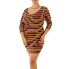 B FAMOUS Junior Plus Striped & Ribbed Dress with L