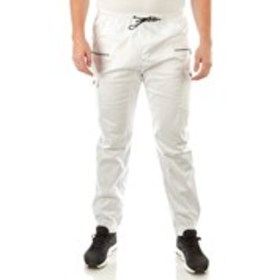 STEVES JEANS Big & Tall White Cargo Joggers with F