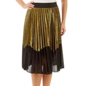 STUDIO WEST Shimmering Pleated Color Block Skirt
