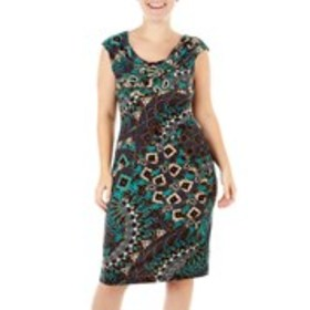 Paisley and Floral Print Dress with Draped Necklin