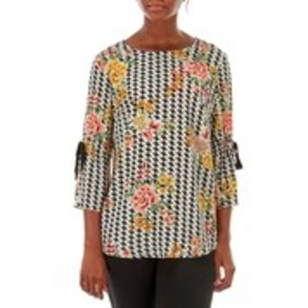 TACERA Tie Sleeve Floral and Houndstooth Top