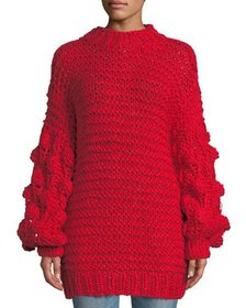 Haute Rogue Jodie Cable-Knit Pompom Sweater