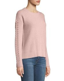 Neiman Marcus Cashmere Braided-Sleeve Ribbed Pullo