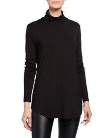 Joan Vass Relaxed-Fit Long-Sleeve Turtleneck Top