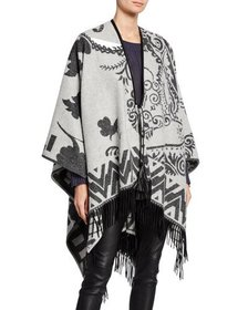 MAG by Magaschoni Cashmere Floral Fringe Tie-Front