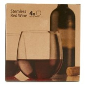 Stemless Red Wine 4-Piece Red Wine Glass Set