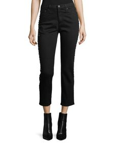 AG Isabelle Straight-Leg Cropped Jeans with Studde
