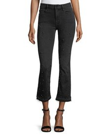 FRAME Le Crop Mini Boot-Cut Jeans with Beading