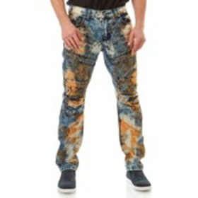 BLUE CULT Mens Ripped Dirt Wash Skinny Moto Jeans