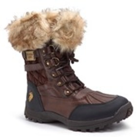 Womens Faux Fur Cuff Quilted Boots