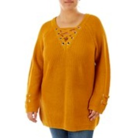 Plus Size Lattice Neckline Sweater with Shining Gr