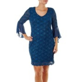 Sequin Lace Fitted Dress with Bell Sleeves