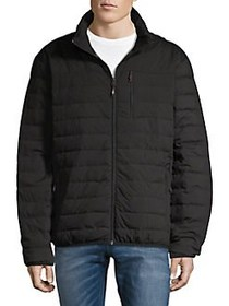 HAWKE & CO Stand Collar Puffer Jacket BLACK