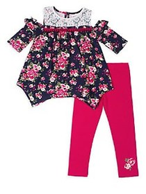 Little Lass Little Girl's Floral Lace Top and Legg