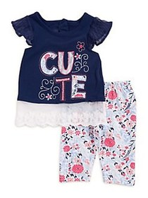 Nannette Baby Girl's Two-Piece Cute Graphic Shirt