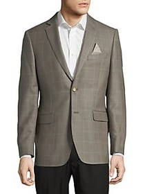 Black Brown 1826 Windowpane Notch Lapel Suit Jacke