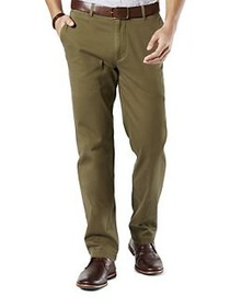 DOCKERS Straight-Leg Flat-Front Pants GREEN