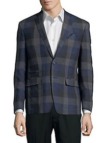 Tallia Orange Checkered Linen Sportcoat NAVY