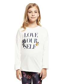 Dex Girl's Love Graphic Cotton Top IVORY