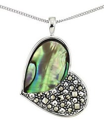 Lord & Taylor Abalone Heart Pendant Necklace ABALO
