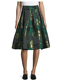 Eliza J Metallic Pleated Skirt GREEN
