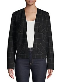 Ellen Tracy Open-Front Windowpane Blazer BLACK