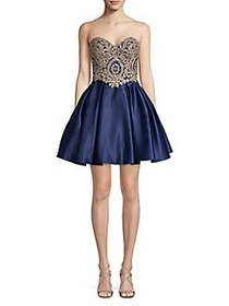 Betsy & Adam Embellished Strapless Mini Ball Gown