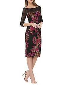 JS Collections Lace-Sleeve Embroidered Cocktail Dr