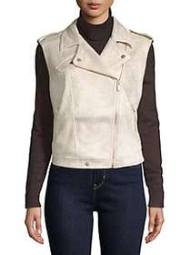 JONES NEW YORK Faux Suede Sleeveless Moto Jacket S