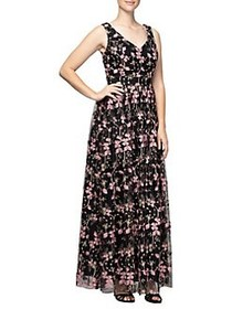 Alex Evenings Floral Embroidered Maxi Dress BLACK