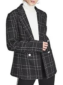 Miss Selfridge Checkered Double-Breasted Blazer BL