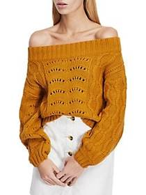 Miss Selfridge Cable-Knit Off-The-Shoulder Sweater