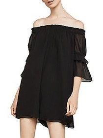 BCBGMAXAZRIA Off-the-Shoulder Shirred Romper BLACK